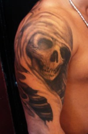 Grim Reaper Shoulder Tattoo For Men