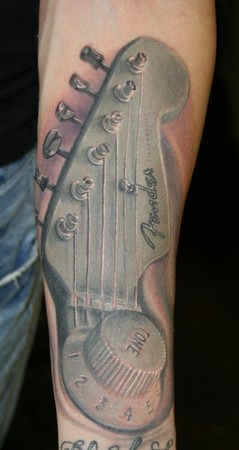 Guitar Realistic Tattoo On Arm