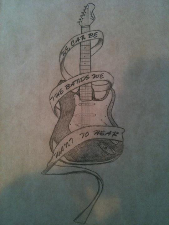 Guitar Tattoo Drawing
