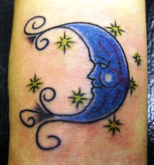 Half Blue Moon And Stars Tattoos