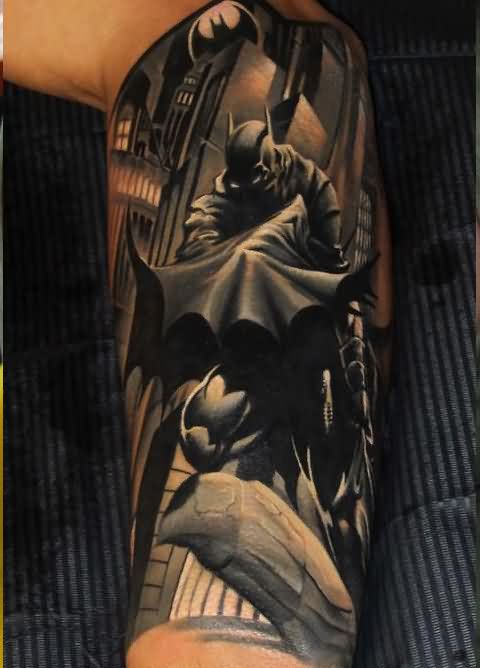 Half Sleeve Batman Tattoo For Men