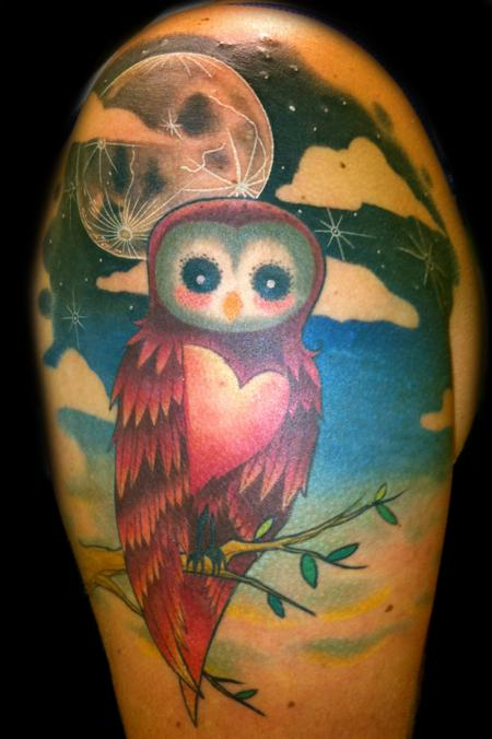 Half Sleeve Full Moon And Owl Tattoos