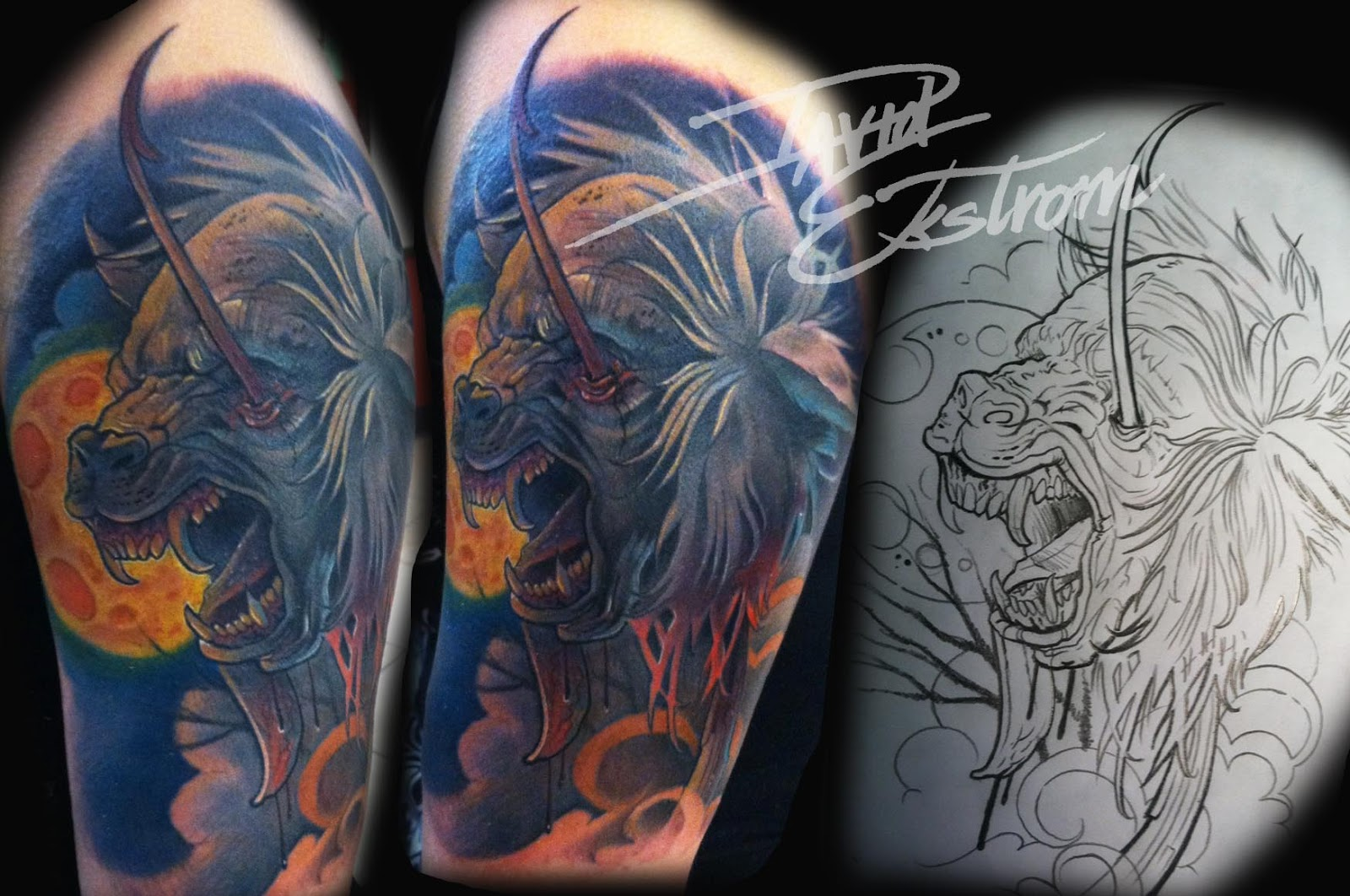 Half Sleeve Full Moon Werewolf Tattoos