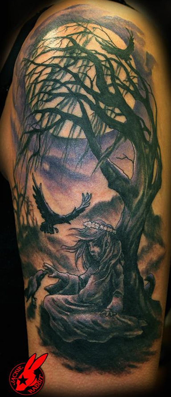 Half Sleeve Gothic Girl Tree And Moon Tattoos