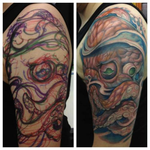 Half Sleeve Octopus Tattoo Stages