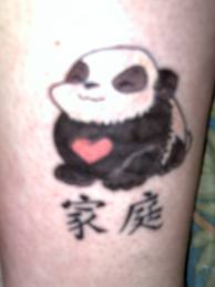 Heart Stomach Panda And Chinese Symbol Tattoos