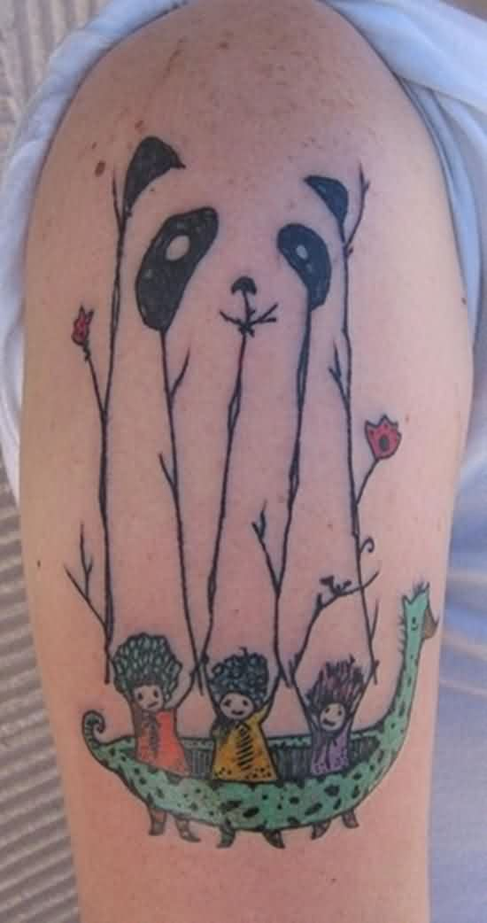 Hilarious Kids Panda Tattoo On Arm
