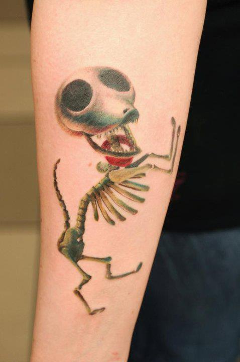 Hilarious Skeleton Tattoo On Arm