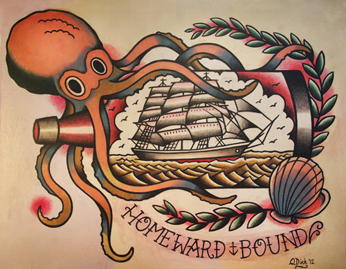 Homeward Bound Octopus And Pirate Ship Tattoo Flash