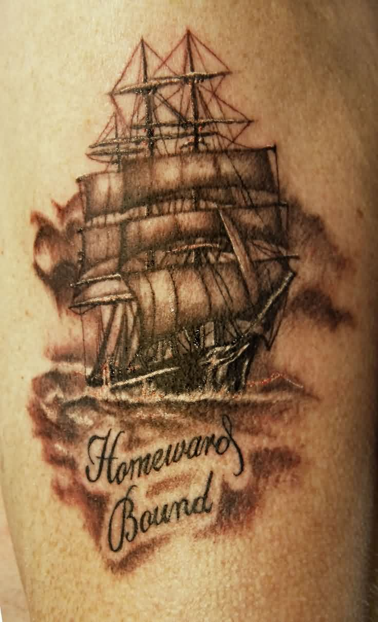Homeward Bound Pirate Ship Grey Ink Tattoo