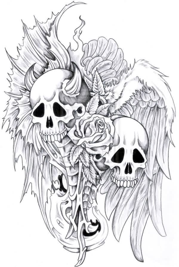 Horned Skull And Wings Tattoo Design