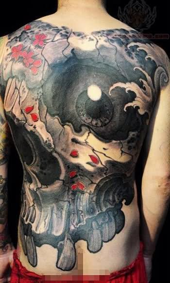 Huge Eye And Skull Tattoos On Back