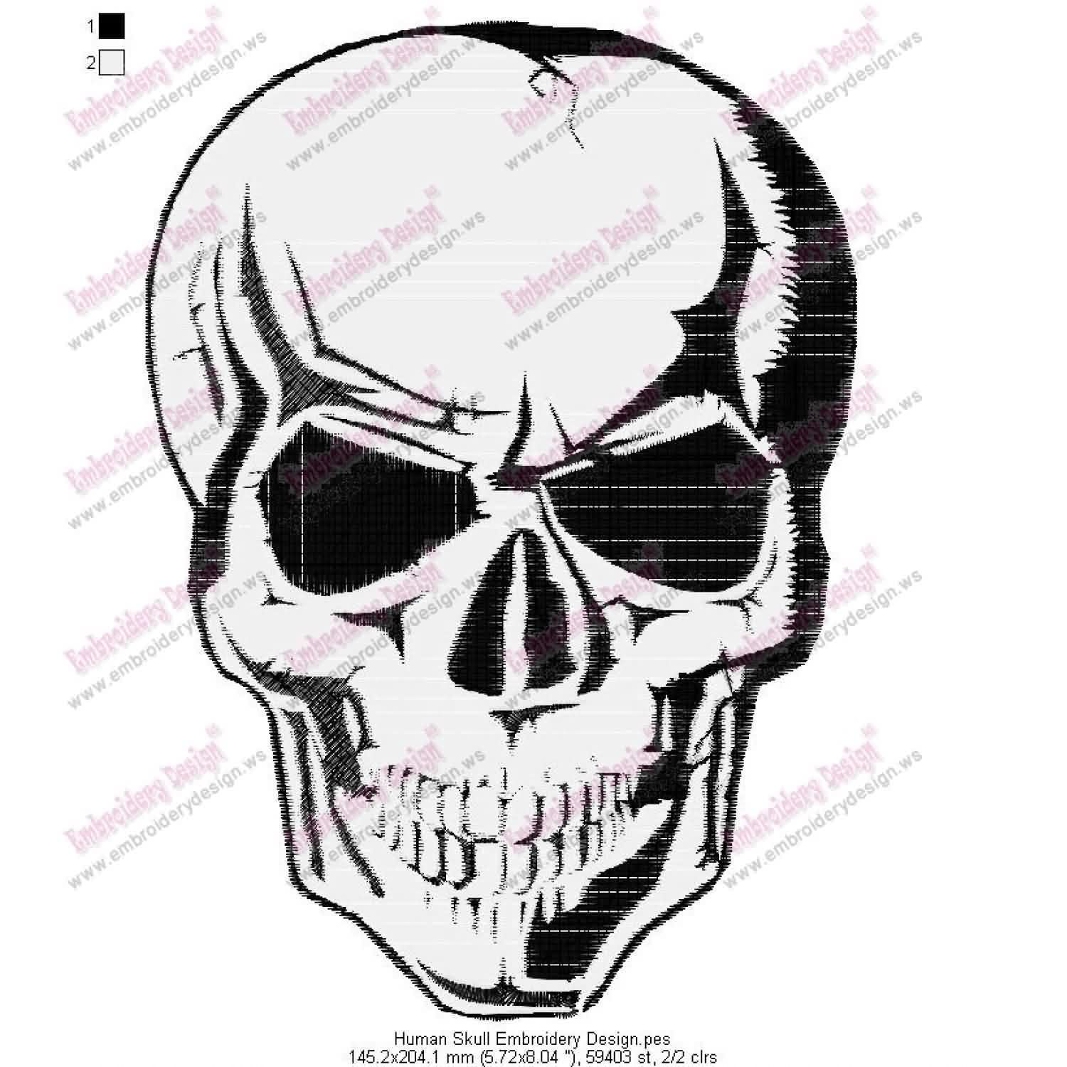 Human Skull Embroidery Design