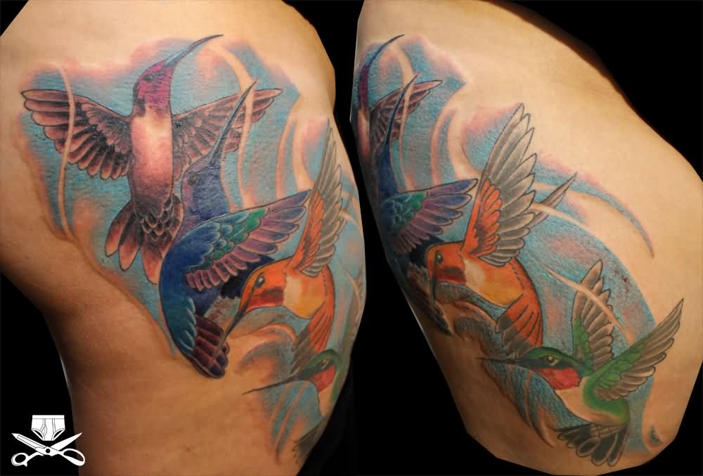 Humming bird Tattoo On Thigh