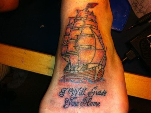 I Will Guide You Home - Ship Foot Tattoo