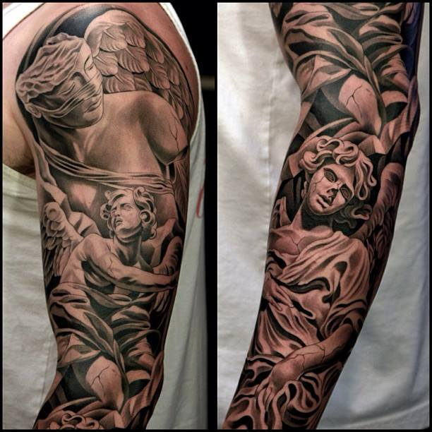 Impressive Angel Full Sleeve Tattoo