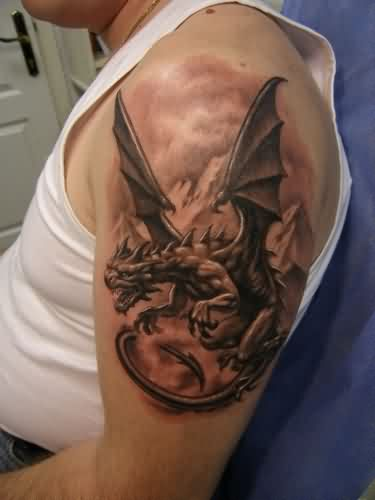 Impressive Grey Dragon Tattoo On Shoulder