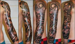 Impressive Grey Ink Sleeve Tattoos