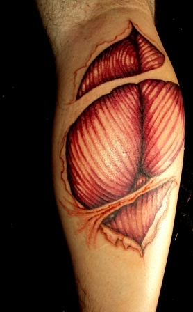 Impressive Muscles Tissue Calf Tattoos