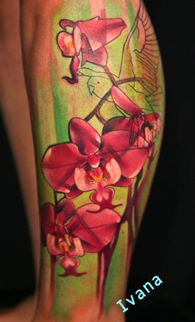 Impressive Pink Ink Orchid Tattoos On Leg