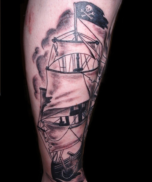 Impressive Pirate Ship Tattoo For Men