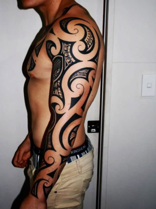Impressive Polynesian Left Sleeve Tattoo For Men