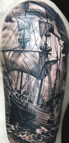 Impressive Realistic Ship And Flying Bird Tattoos On Sleeve
