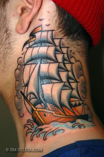 Impressive Sailing Ship Neck Tattoo For Guys