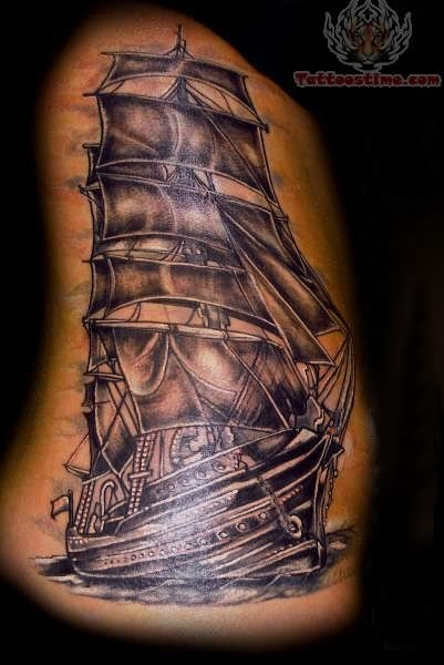 Impressive Sailing Ship Tattoo Image