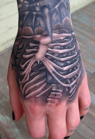 Impressive Skeleton Bones Tattoos On Hand