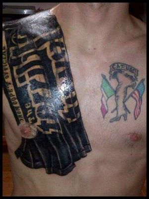 Impressive Sports And Flag Tattoos On Chest