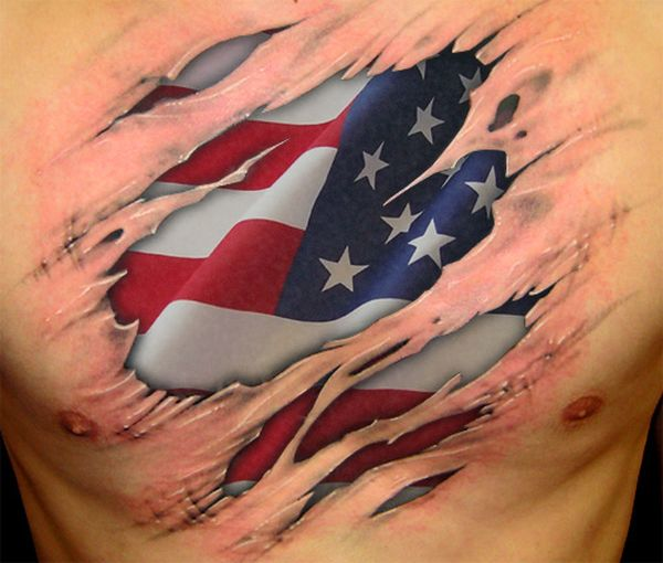 Impressive Torn Ripped Skin American Flag Tattoo On Chest