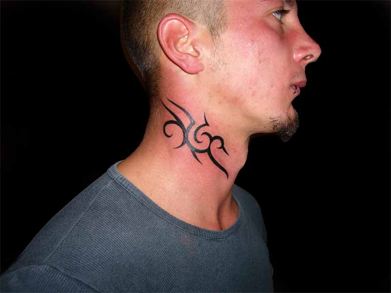 Impressive Tribal Side Neck Tattoo
