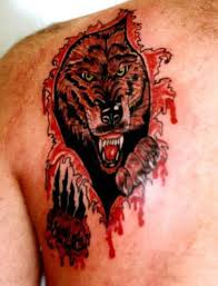 Impressive Wolf Torn Ripped Skin Tattoo On Back