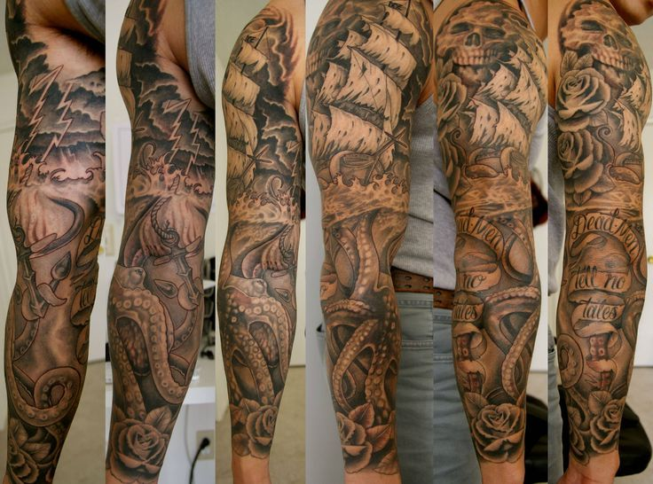 Incredible Grey Ink Ocean Sleeve Tattoos
