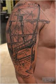 Incredible Half Sleeve Ship Tattoo For Men