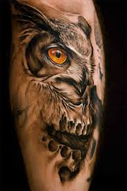 Incredible Owl Skull Tattoo On Arm