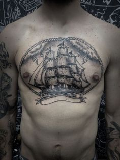 Incredible Ship Chestpiece Tattoo For Men