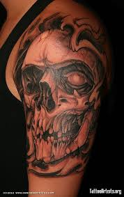 Incredible Skull Tattoo On Shoulder