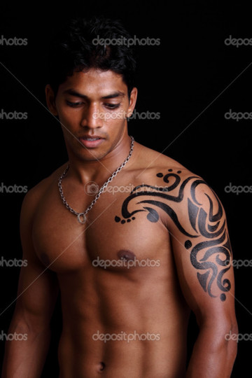 Indian Muscular Guy With Muscles Tattoos