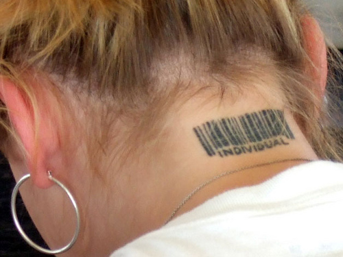 Individual Barcode Neck Tattoo For Girls