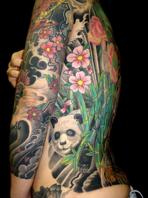 Japanese Blossoms And Panda Bear Tattoos On Body