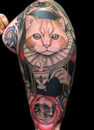 Japanese Cat And Skull Sleeve Tattoos