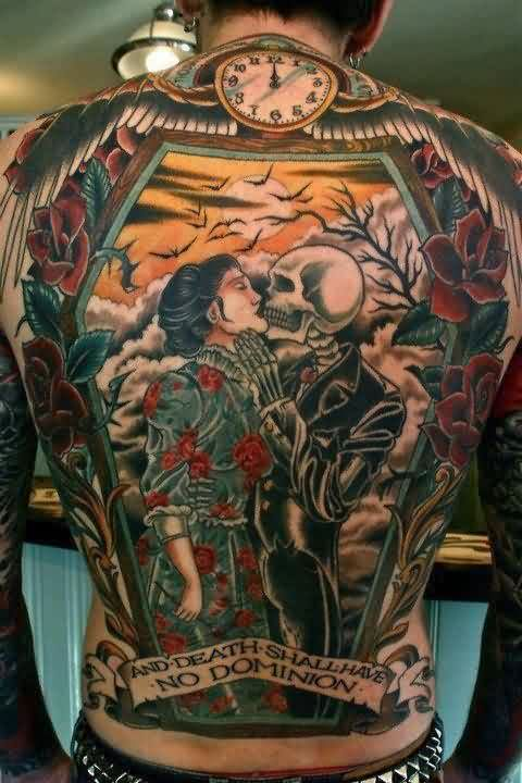 Japanese Girl And Skeleton Kiss Tattoo On Back