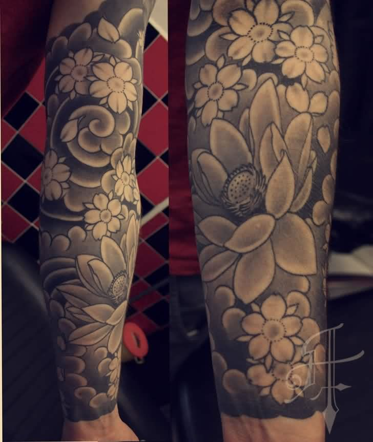 Japanese Grey Flowers Sleeve Tattoos