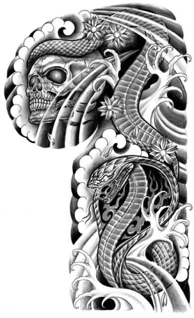 Japanese Skull Snake Tattoo Design For Arm