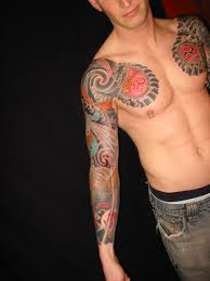 Japanese Sleeve And Chest Tattoos For Guys