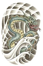 Japanese Snake And Waves Tattoo Design