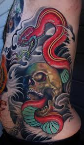 Japanese Snake Skull And Waves Tattoos On Side