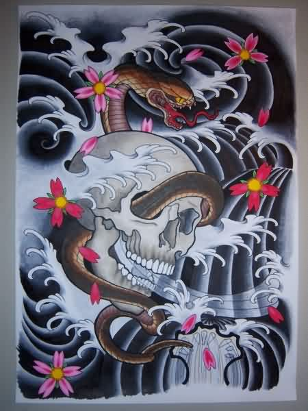 Japanese Waves And Snake Skull Tattoo Photo